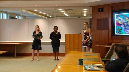 2017 SYPIP Interns Delaney Morrow Natalie Weida and Delajah Dennis at their final presentation to The Heinz Endowments staff (Photo by Amma Ababio)