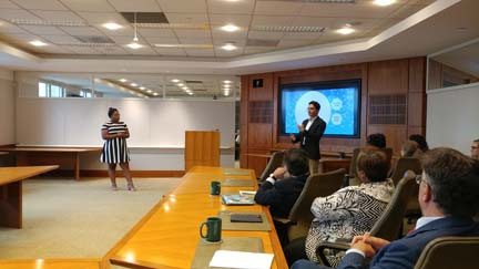 2017 SYPIP Interns Katie Davenport and Joey Scapellato at their final presentation to The Heinz Endowments staff (Photo by Amma Ababio)