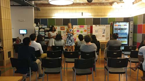 2017 SYPIP Interns Natalie Weida and Delajah Dennis present their RFP at a poster session at the Childrens Museum in the North Side (Photo by Amma Ababio)