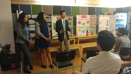 2017 SYPIP Interns Nick Becker Mae Knight and Maya AlMoussa present their RFP at the Childrens Museum in the North Side (Photo by Amma Ababio) (2)