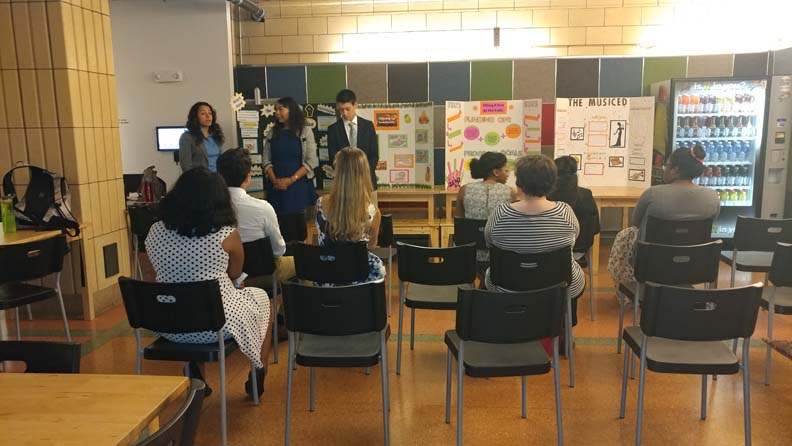 2017 SYPIP Interns Nick Becker Mae Knight and Maya AlMoussa present their RFP at the Childrens Museum in the North Side (Photo by Amma Ababio)