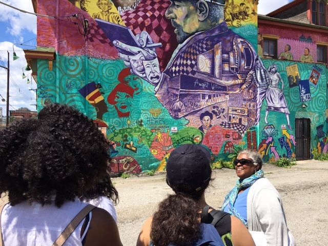 2017 SYPIP Interns observing artwork in the Hill District. Taken by Joey Scapellato